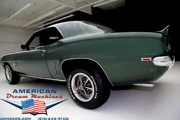 For Sale Used 1969 Chevrolet Camaro, RS/SS 4 speed Rally Sport Super Sport green | American Dream Machines Des Moines IA 50309