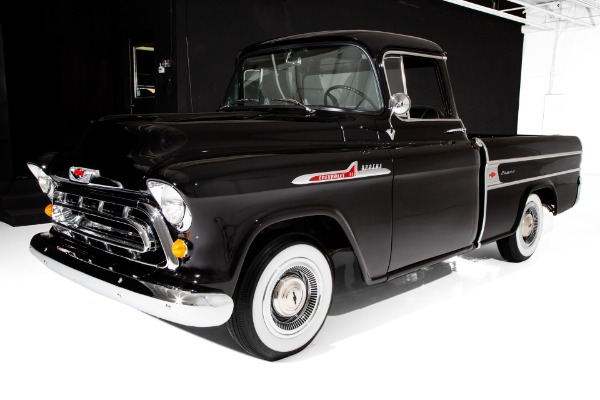 For Sale Used 1957 Chevrolet Pickup Black Cameo V8 4-Speed | American Dream Machines Des Moines IA 50309