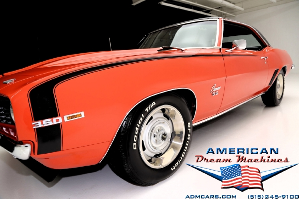 For Sale Used 1969 Chevrolet Camaro coupe, Hugger Orange, SS options | American Dream Machines Des Moines IA 50309
