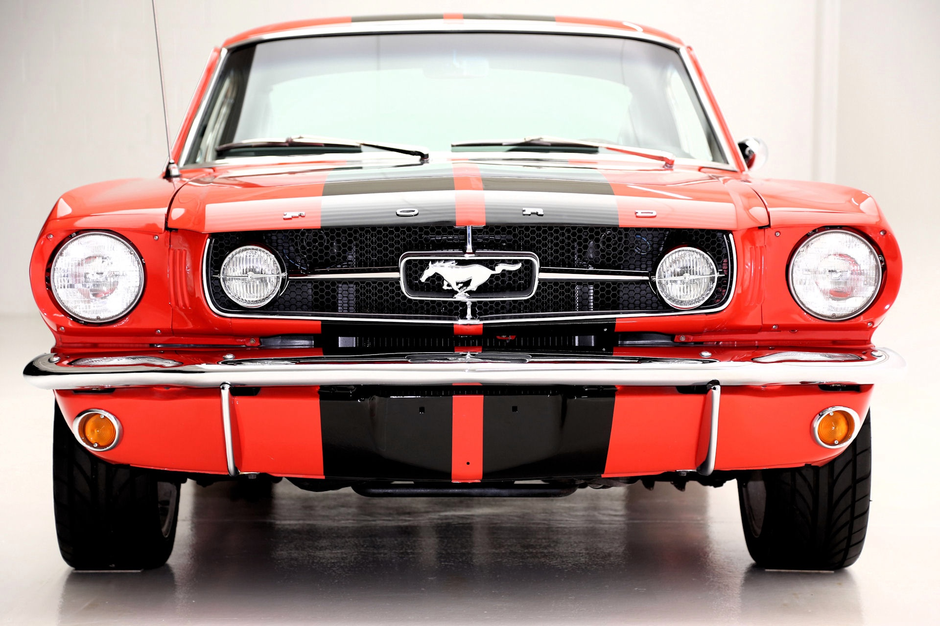 1965 Ford Mustang Fastback Poppy Red Blk Interior American Dream Machines Classic Cars