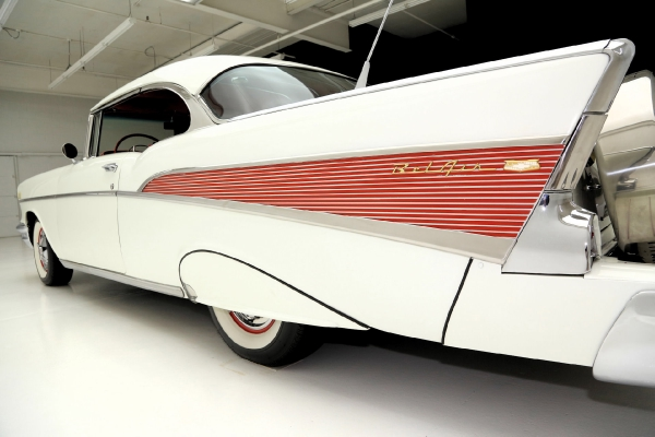 For Sale Used 1957 Chevrolet Bel Air white blk/red int LT1 AC PB | American Dream Machines Des Moines IA 50309