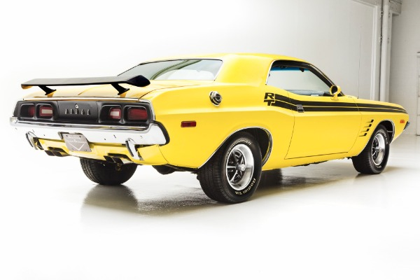 For Sale Used 1973 Dodge Challenger Lemon Twist, RT Stripes | American Dream Machines Des Moines IA 50309