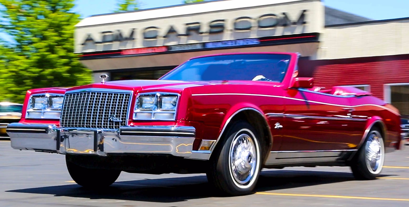 For Sale Used 1982 Buick Riviera Convertible Ruby Red Loaded Leather, Low Miles 36k, Incredible Car | American Dream Machines Des Moines IA 50309