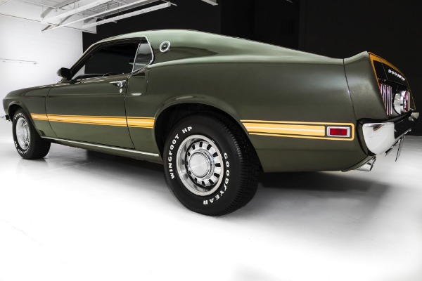 For Sale Used 1969 Ford Mustang Mach 1 Dark Jade Green  351 A/C | American Dream Machines Des Moines IA 50309