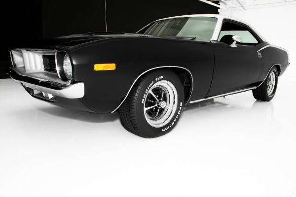 For Sale Used 1973 Plymouth Barracuda Black 340, 4 Speed AC | American Dream Machines Des Moines IA 50309