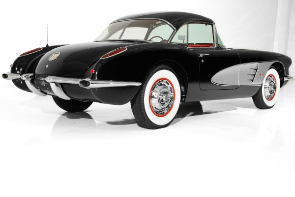 For Sale Used 1960 Chevrolet Corvette Black w/ Silver Coves,Red Interior,283 Fuelie Matching #s,4-Speed,2 Tops | American Dream Machines Des Moines IA 50309