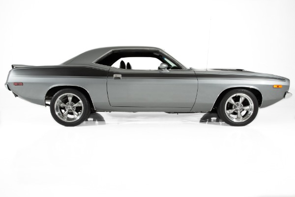 For Sale Used 1973 Plymouth Cuda Silver #s Match, 340, 4 speed | American Dream Machines Des Moines IA 50309