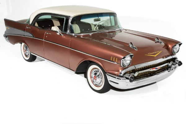 For Sale Used 1957 Chevrolet Bel Air Hardtop Sierra Gold 283 Automatic Frame Off | American Dream Machines Des Moines IA 50309