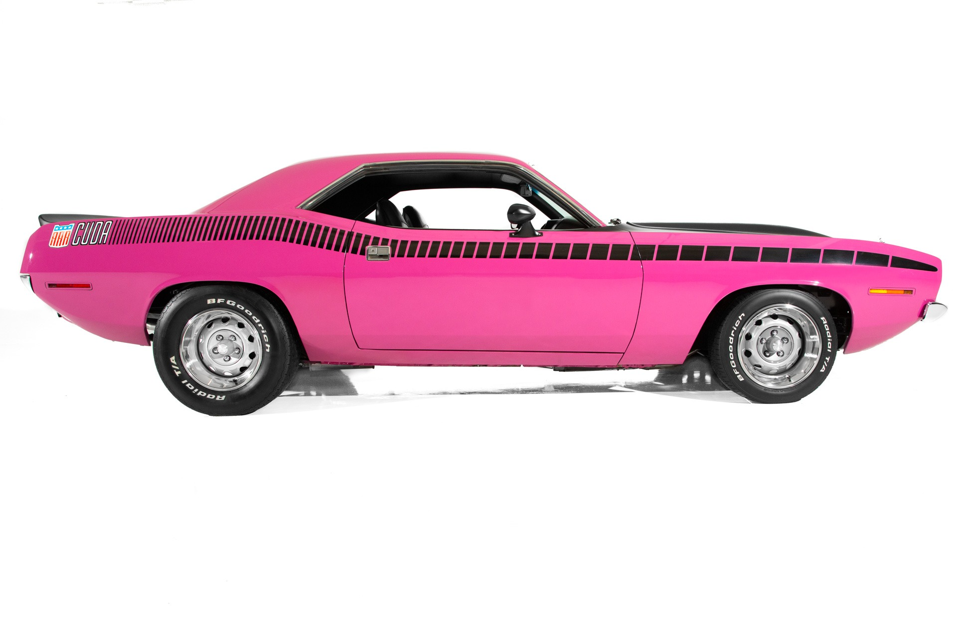 For Sale Used 1970 Plymouth Cuda Panther Pink 440 4-Speed | American Dream Machines Des Moines IA 50309